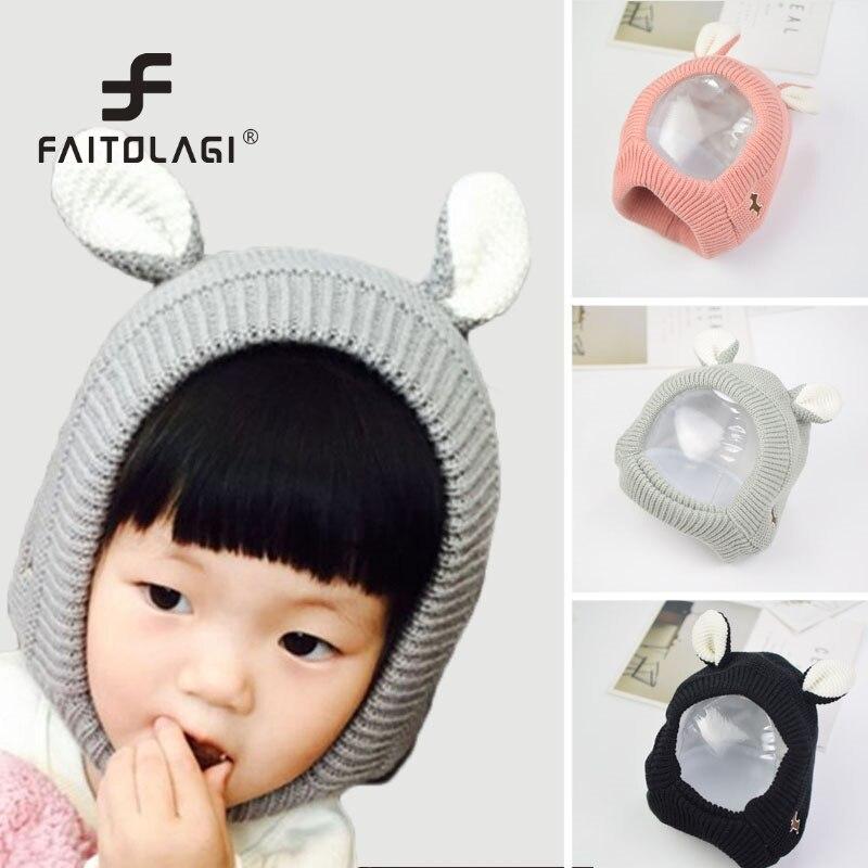 9b319a4edb2 Kids Boys Girls Rabbit Ear Cute Hats Winter Children Helmet Knit Beanies  Scarf Cotton Soft Neck Wamer Baby Bunny Photo Props