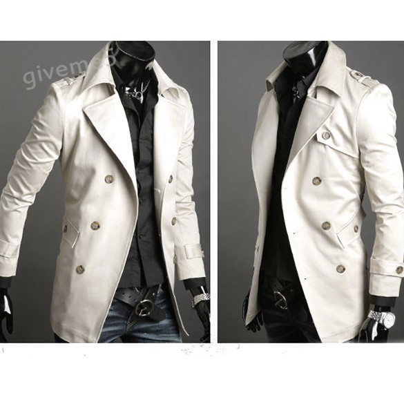 New Fashion korean coat jacket men Slim Classic Double breasted wool coat jacket windbreaker 4 sizes 2 colors 22