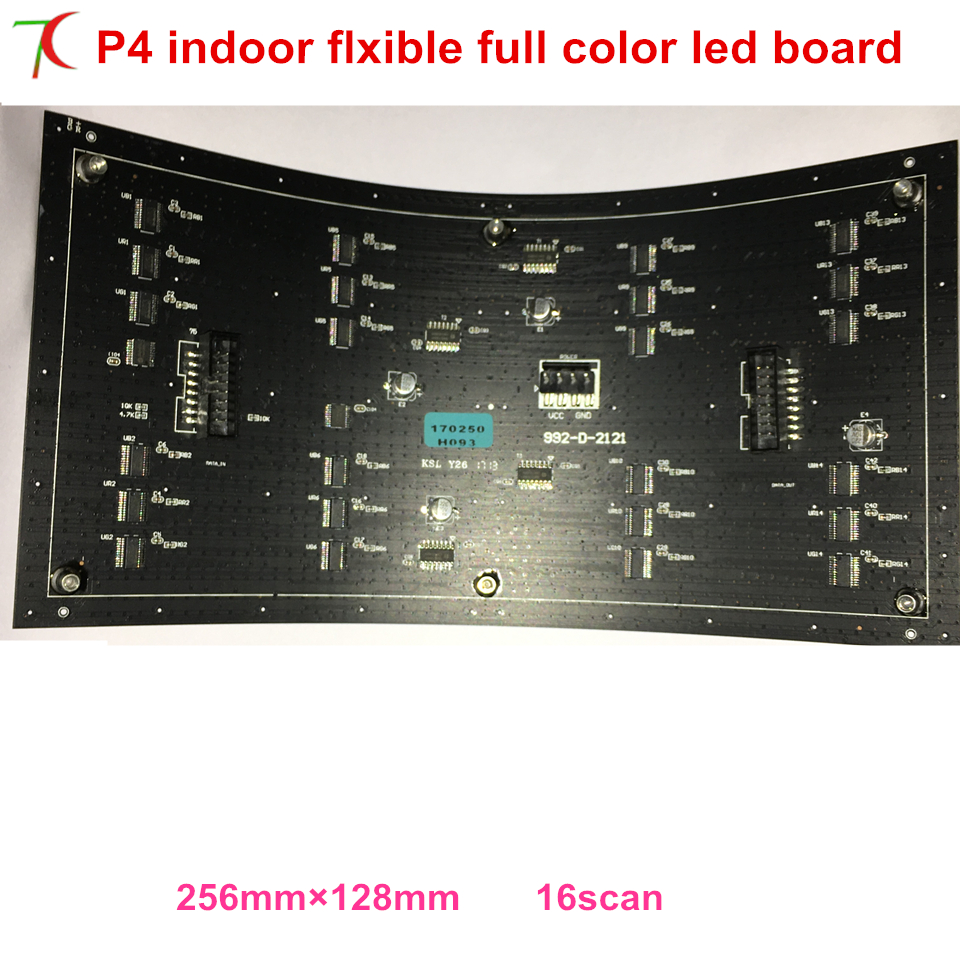 FREE Shipping P4 Module Size 256*128mm For Arbitrary Curved Indoor Full Color Display Panel