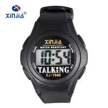 лучшая цена XINJIA New Talking Watch For Blind Men Women Casual Sport Digital Elderly Visially Impaired  Italian Arabic Russian Korean Time
