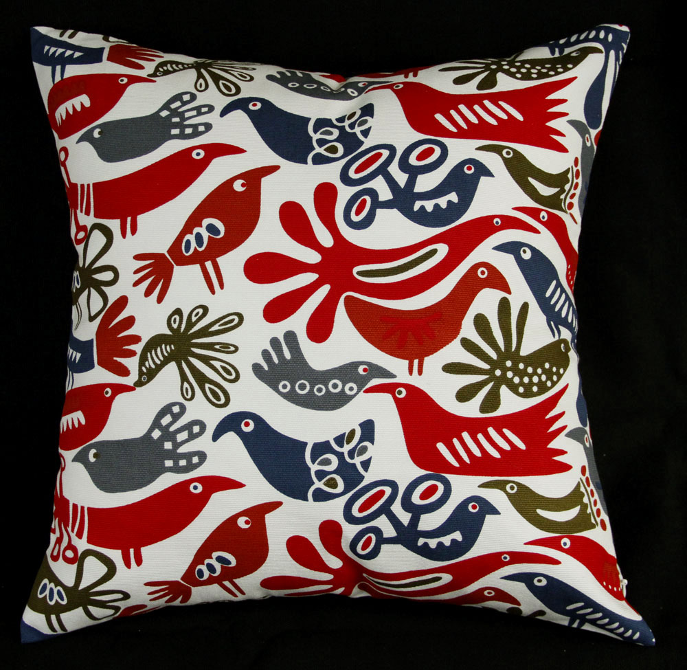 ea357 plain birds blue red green white grey gray ivory printed a grade 100 cotton canvas cushion cover pillow case custom size