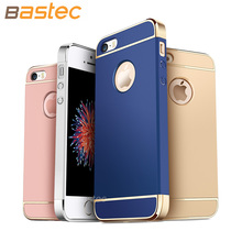 For iPhone 5 5s,Bastec Luxury Shockproof Electroplate 3 in 1 Ultra-thin Hard Back Matte Plastic Phone Case for iPhone 5s 5 SE