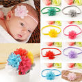 10pcs/Lot Fashion Newborn Baby Girls Chiffon Flower Toddler Elastic Infant Headbands Kids Hairband Lovely Boys Hair Accessories