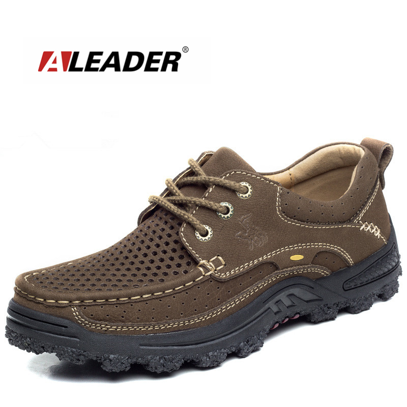 Aleader Brand Camel Genuine Leather Men Shoes Casual Outdoor Soft Working Oxford For Men Big Size  Mens Walking Flats Shoes Sale male casual shoes soft footwear classic men working shoes flats good quality outdoor walking shoes aa20135