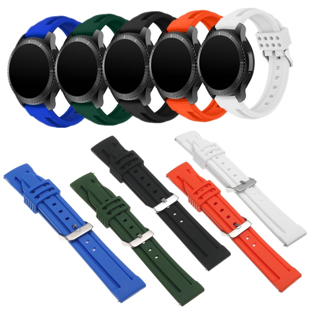 New 22MM Watchband for/Samsung Gear S3 Soft Silicone Replacement Bracelet Rubber Bands For/Samsung Gear S3 Smart Sport Watch