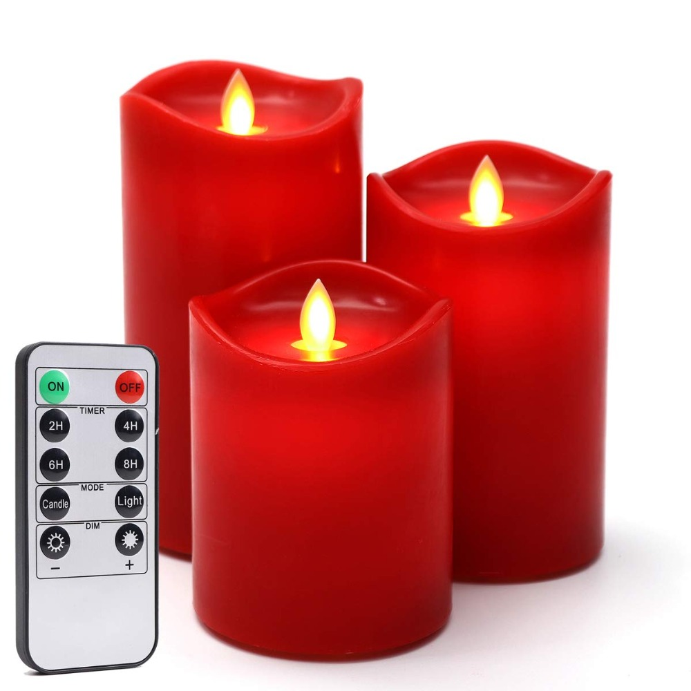 Flameless Wave Shape LED Candles Lamp Warm Light  Remote Control Timer Function Wedding Birthday Party Christmas Night Lights