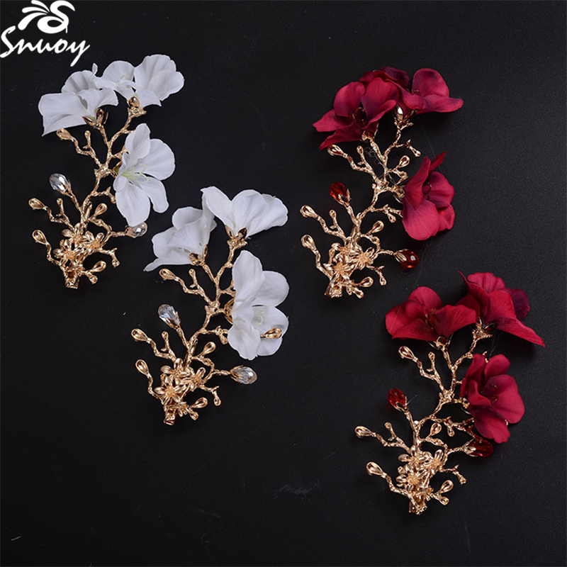 Snuoy Beautiful Bride Flower Wedding Hair Accessories in White/Red Fashion Gold Branch Hairclips & Tiara Crowns Women Hairband