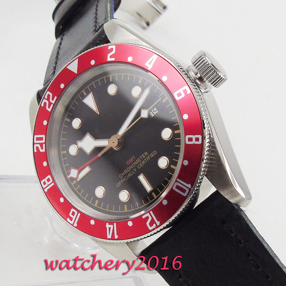41mm Corgeut Sterile Black Dial Red Rotating Bezel Sapphire Glass GMT Date Window Luminous Steel Automatic Movement men's Watch цена и фото