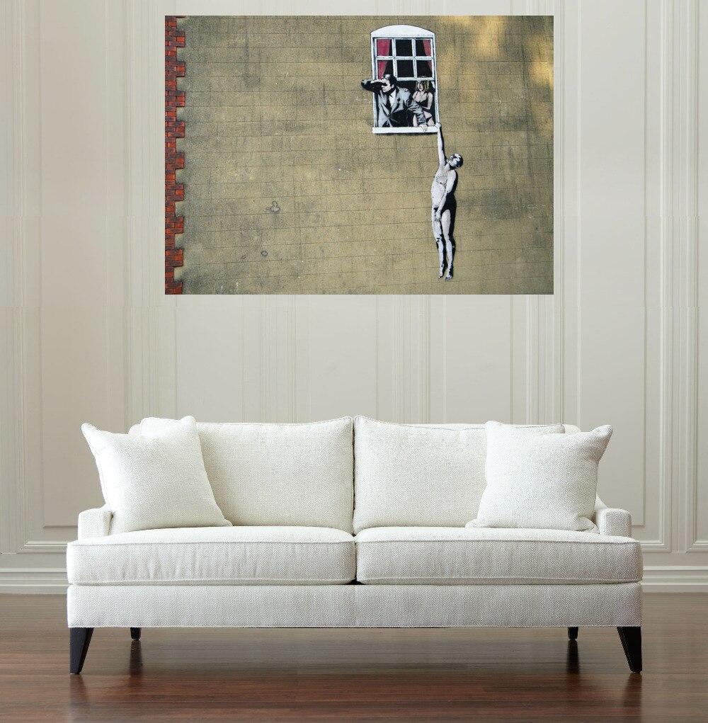 wohnzimmer wand poster : Leinwand Malerei Geschenk Nackter Mann H Ngen Von Fenster Banksy