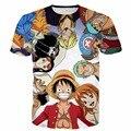 Новая Мода Мужчины Женщины Летом Случайные футболки One Piece Персонажи 3D майка Аниме Луффи футболки майки топы
