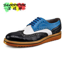 Men Retro Genuine Leather Lace Up Fretwork Oxfords Mixed Color Brogue Shoes Bussiness Mens Formal Dress Wedding Shoes