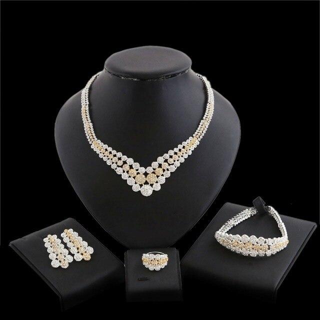1ca0ba8551 Yulaili High Quality Jewellery Set Costume Dubai Necklace Bracelet Ring  Earring Jewelry Sets New Gold Chain