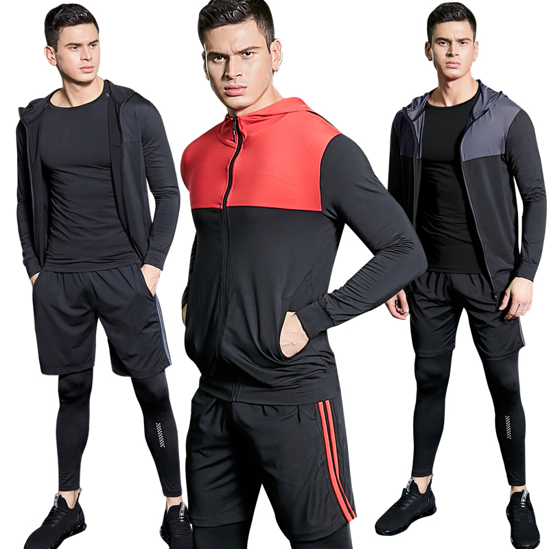 US $14.99 40% OFF|4PCS Sport Suit Men Men's Gym Training Fitness Sportswear Athletic Workout Clothes Suits Running Jogging Mens Sports Clothing in