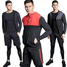 4 piezas de traje de deporte de los hombres de gimnasio de entrenamiento  Fitness ropa deportiva Atlético entrenamiento trajes de. c1a9783505c06