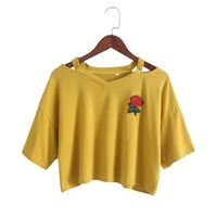 2017 Fashion Women Girls Short Sleeve Crop Top Summer Embroidery Rose Cut Out V Neck T
