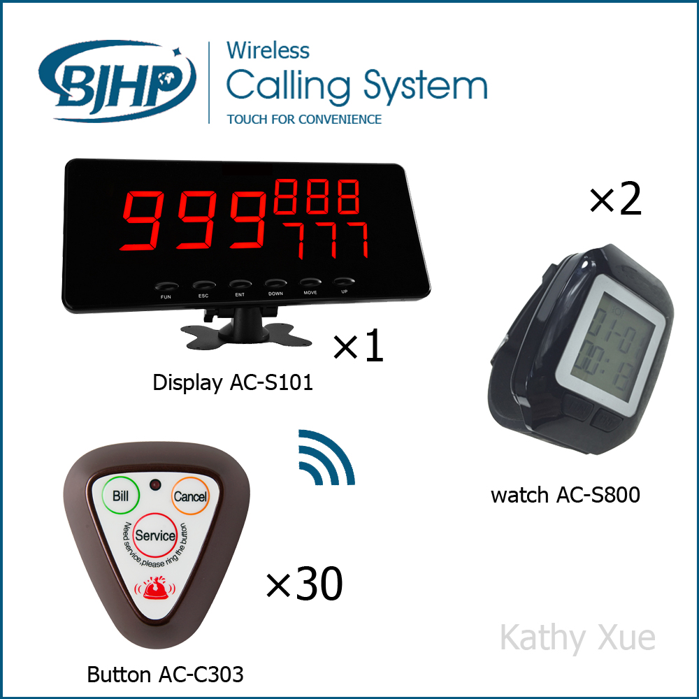 Waiter Buzzer Call Button System for Restaurant Hotel and Cafe Shop (30 Table Call Bells 1 Display Panel and 2 Watch Pagers) new customer call button system for restaurant cafe hotel with 15 call button and 1 display shipping free