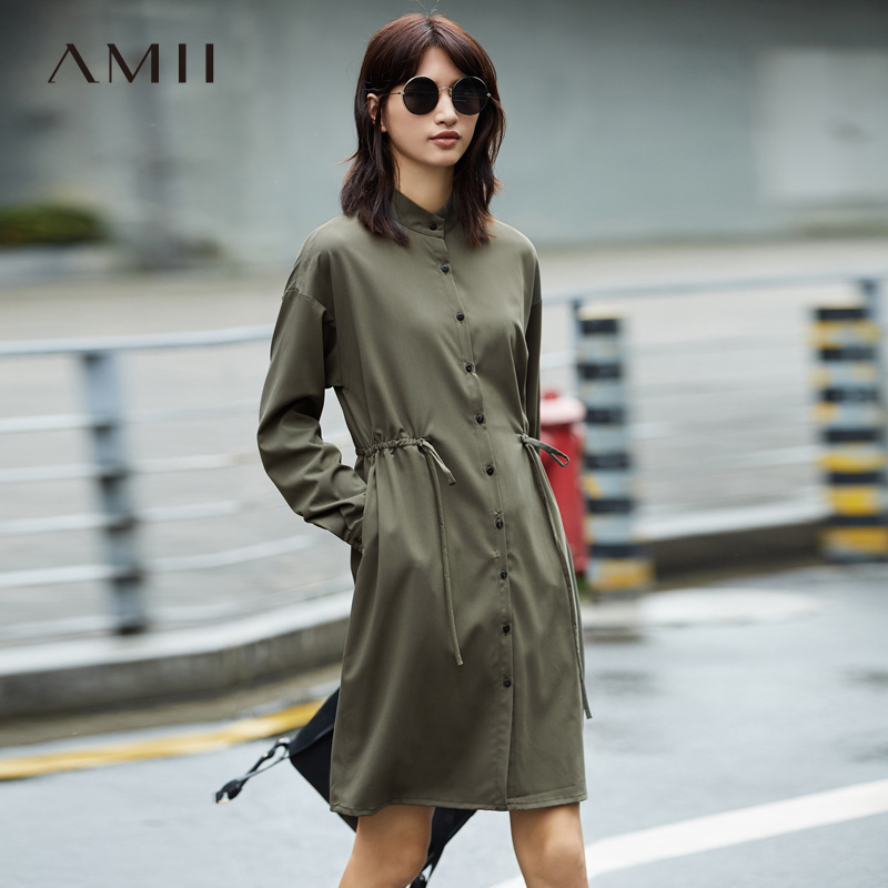 Amii Minimaliste Casual Femmes Robe 2018 Genou Haute À Manches Longues Stand Robes