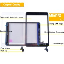 10Pcs/lot Original For Apple Mini 1 Touch Screen Digitizer Panel for ipad A1455 A1454 A1432 Touchscreen with IC Home Button