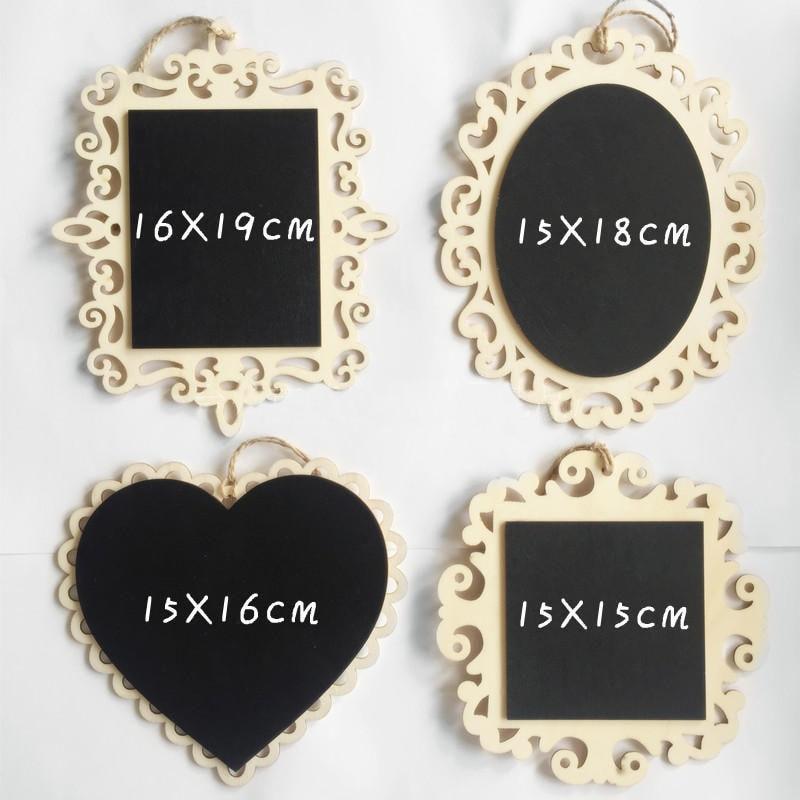 10 Stks/partij Hartvormige Retangle Mini Opknoping Houten Schoolbord Krijtbord Wordpad Message Board Wedding Decor Tafel V4220