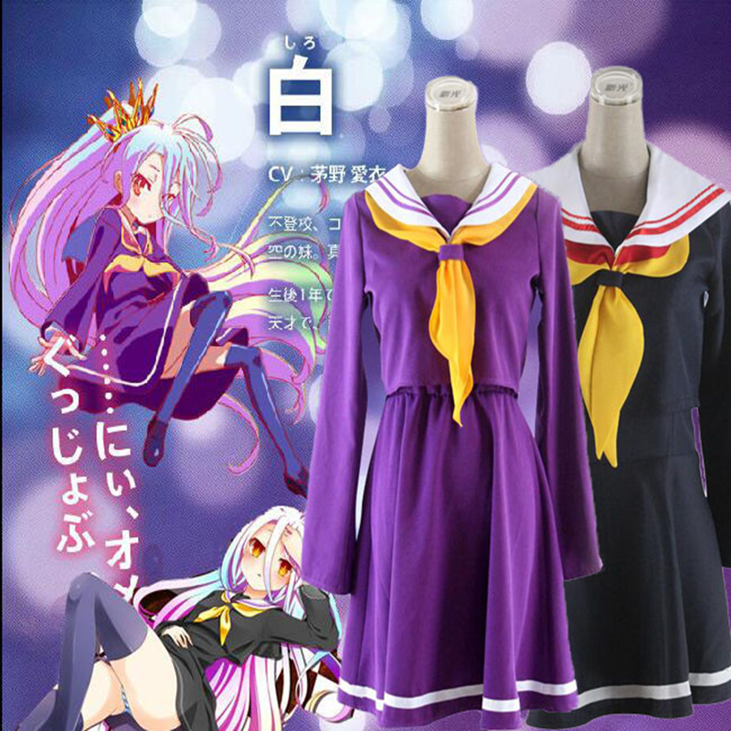 Selling Well All Over The World Purple Cosplay No Game No Life Shiro Emboitement Heroine Sailor Suit top+ Skirt+ Bow Tie+ Shoulder Tape+ Oversleeve+sock