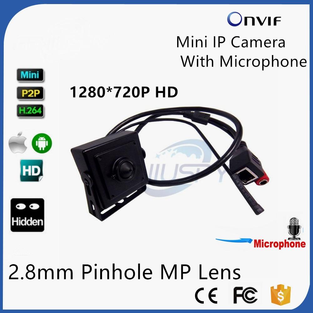 цена на Micro 2.8mm Pinhole Lens Mini IP Camera 720P HD Home Security System Cctv Surveillance External Microphone Onvif 2.0 Video Cam