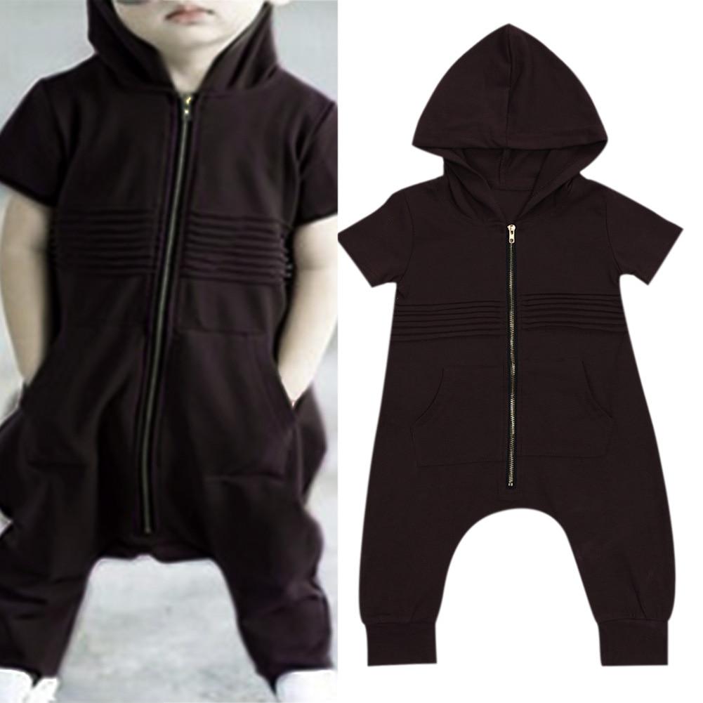 Newborn Baby Boys Clothes Short Sleeve Hooded Zipper Pocket   Romper   Jumpsuit Baby Boy Zipper Kids Clothes Boys Outfits