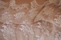 30 yards ivory bead embroidered lace mesh fabric, 3d alencon bridal lace fabric with pearl and sequins, DZF002