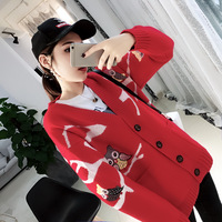 Hot Selling Newest 2019 Autumn Dress New Korean Embroidered Owl Sweater Jacket Women's Korean Loose Primordial Tide