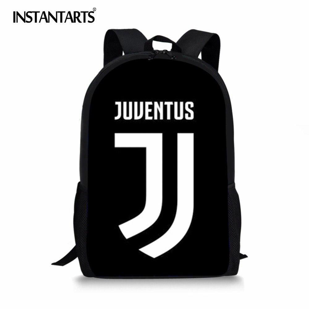 Instantarts School Bag Backpack Ronaldo Juventus Printing Boys Schoolbag Students Book Bags Kids School Bags Teenager Schoolbags
