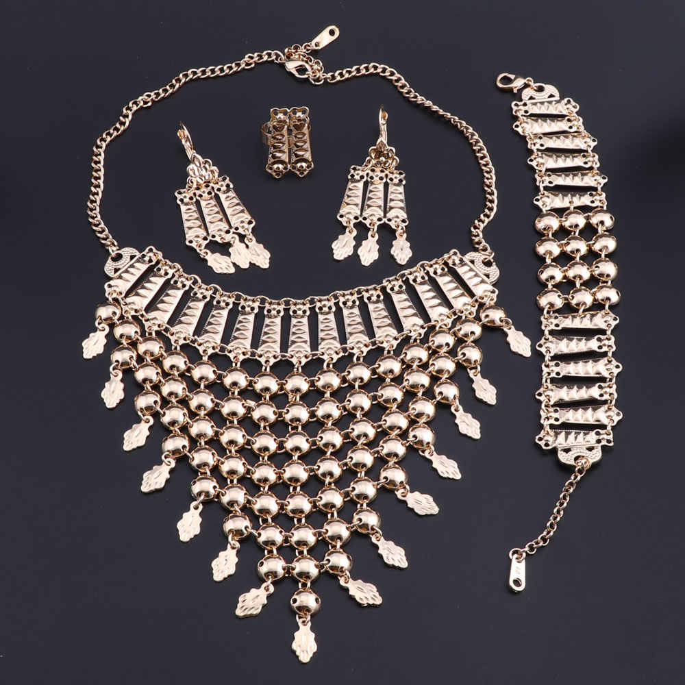 OEOEOS Indian Bridal Jewelry Sets For Women Dubai Fashion Necklace Earring Bracelet Set Wedding Jewellery Bridal Costume Jewelry