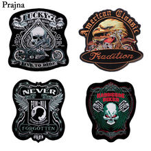 Prajña Punk Iron Op Patches POW MIN Luck * 7 Schedel Jas DIY Patches Verenigde Staten Eagle Indian Badge Logo voor Kleding(China)