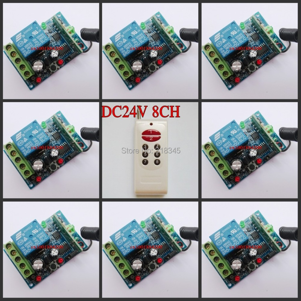 DC24V 8CH RF wireless remote control switch 8 Receiver&Transmitter Momentary Toggle Latched Adjust Learning 3 Indicator new rf wireless switch wireless remote control system 2transmitter 12receiver 1ch toggle momentary latched learning code 315 433