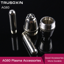 20PCS  Air Plasma Cutter AG-60 Cutting torch/Gun Head Consumable For CUT40/50/60A Accessories Tips Electrodes 100pcs pt31plasma cutter cutting consumables kit extended electrodes tips fit cut40 50d ct312 welding accessories
