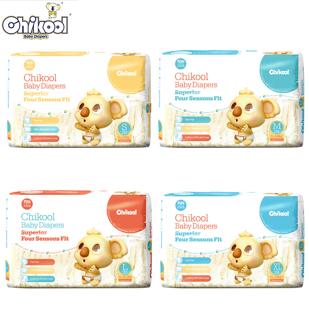 2018 Chikool Baby Diapers 28pcs Size S/M/L/XL for 3-12kg Baby Newborn disposable diapers Absorbent Breathable Dry for single use