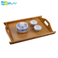 Chinese Bamboo Wooden Tea Tray Natural Traditional Black Tea Serving Tray with Handles for Kung Fu Tea Table Dish Plates