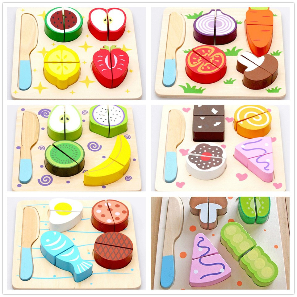 toy kitchen food accessories wooden dessert fruit vegetable food kitchen cutting 6316