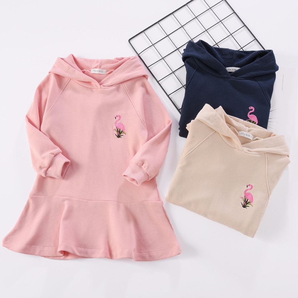 Autumn 2018 Kids Dresses Baby Girls Dress Cotton Long Sleeve Flamingo Embroidery Children Clothing Baby Girl Clothes Bebe Dress
