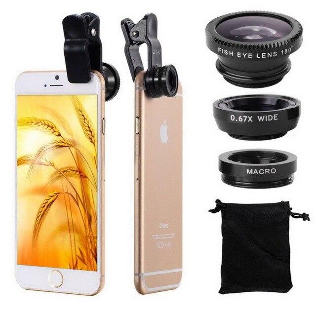 3 в 1 Широкий формат макро объектив рыбий глаз комплект + клип смартфон мобильный телефон линзы Рыбий глаз для iPhone 6 S 7 s плюс Камера Lentes