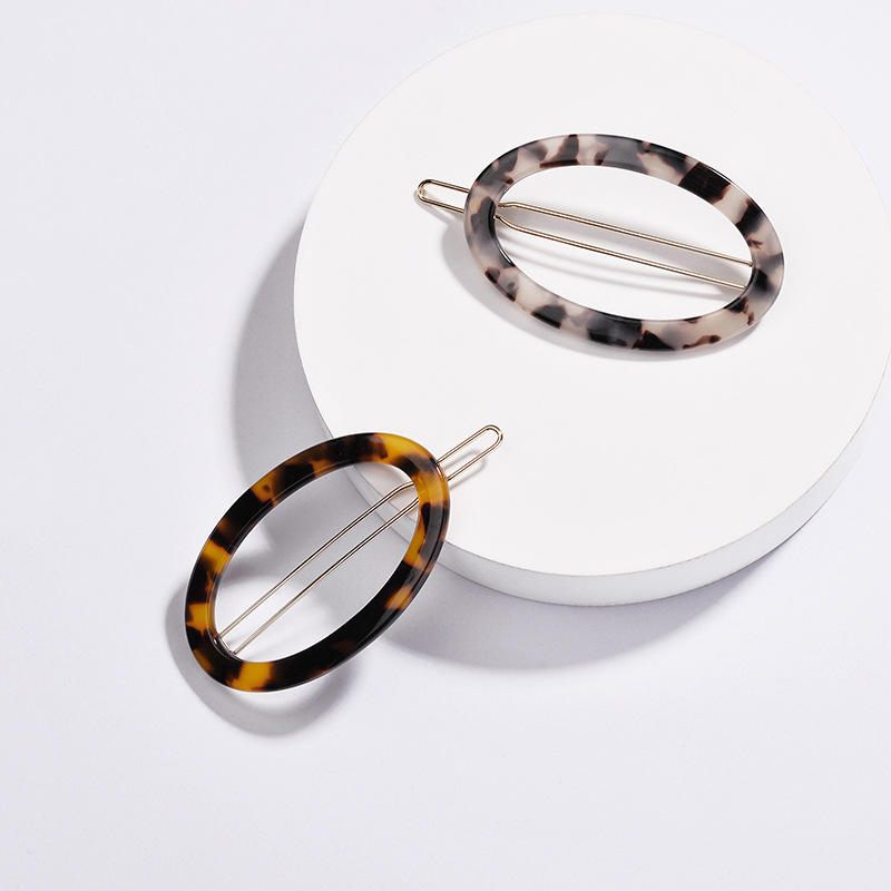Barrettes Hairpin Hair-Jewelry Hollow-Tortoiseshell Acetate Girls Women Oval Trendy Acrylic