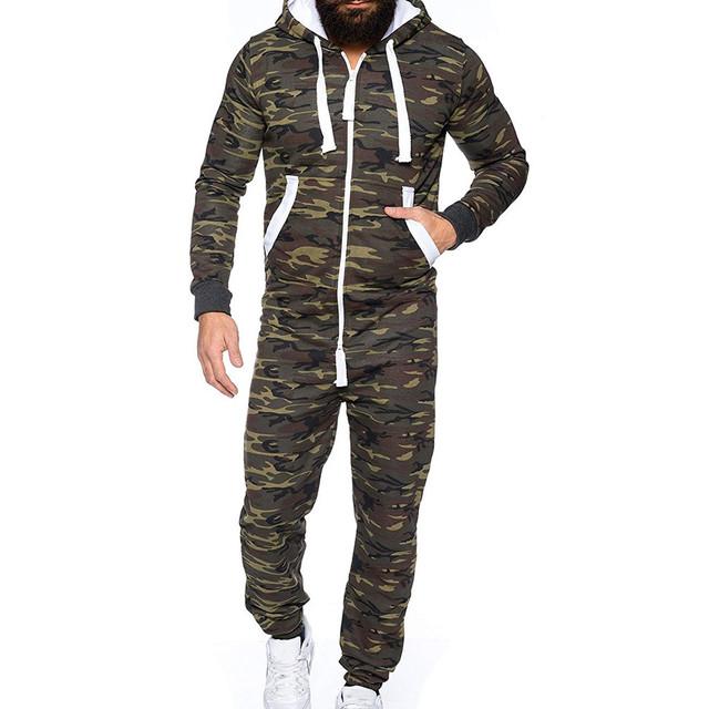 Hoodie Print Army Jumpsuit Men – 21JS