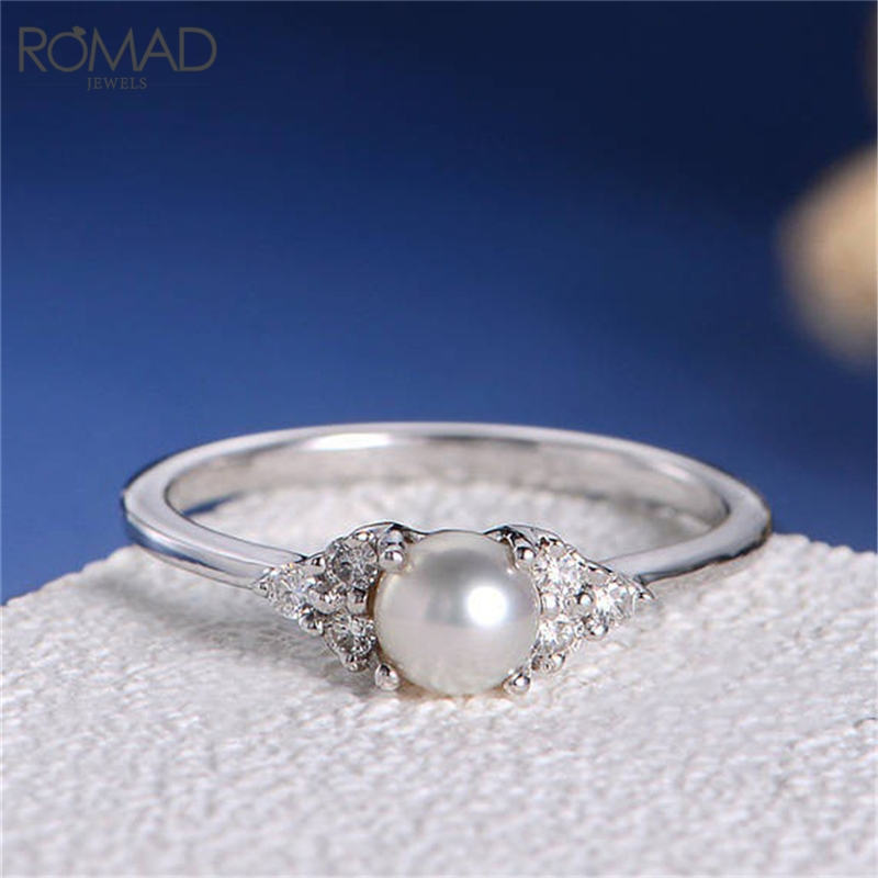 Romad Wedding Midi Ring Ring Natural Freshwater Pearl Cubic Zircon Cz Rhinestone Pearl Rings Woman R4 Rich And Magnificent