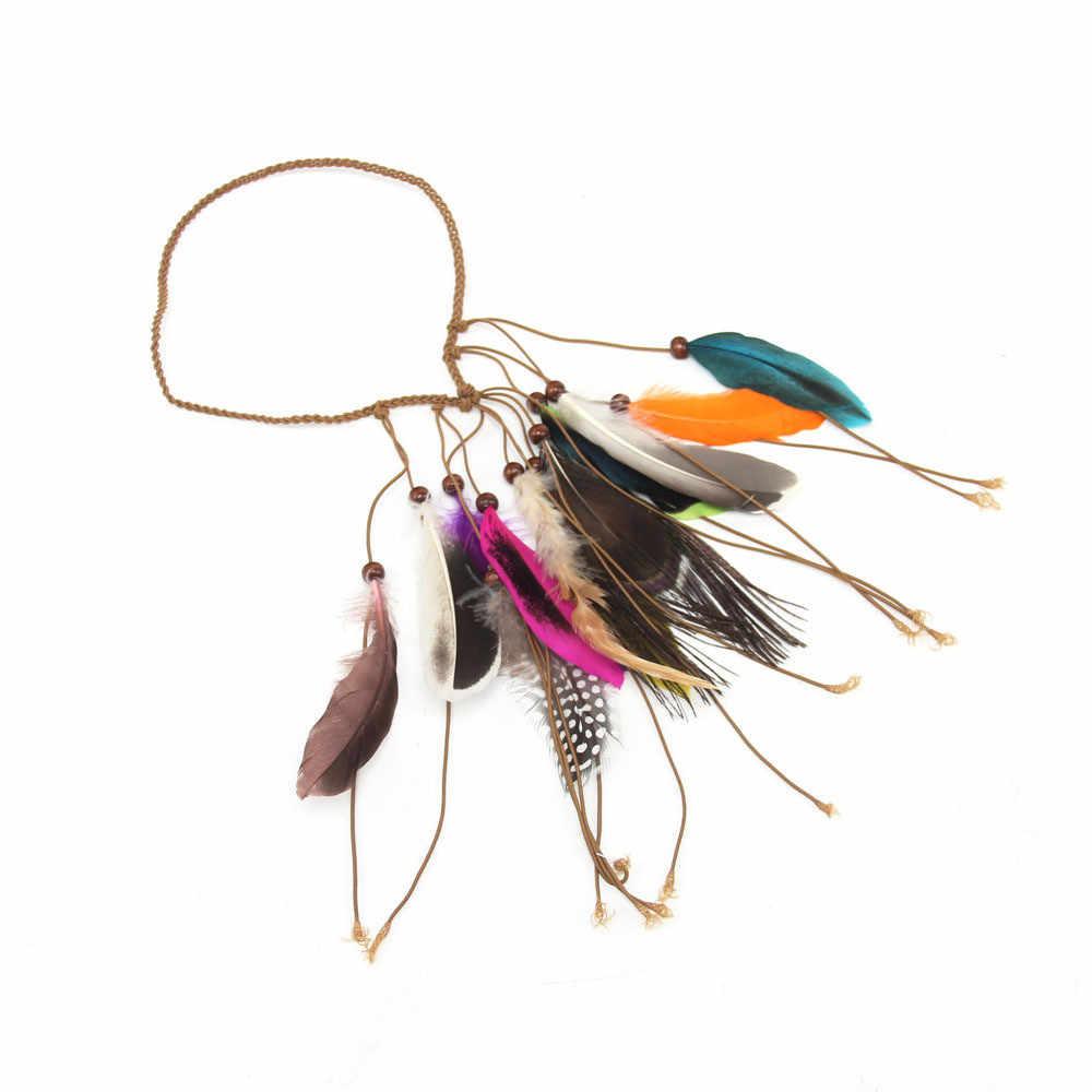 Estilo indio de señora de las mujeres pelo banda de tejido a mano pluma de pavo real para Niña Accesorios para el pelo diademas