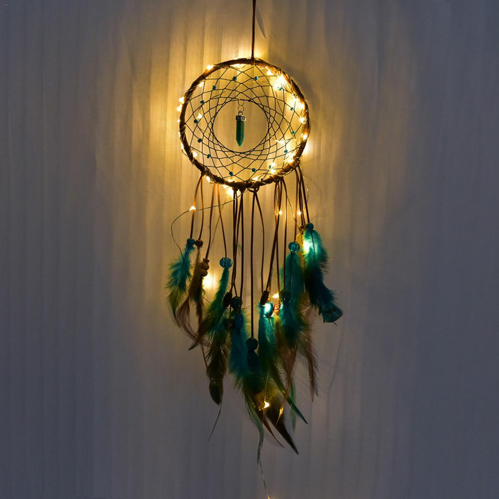 Dream catcher Led Handmade Dreamcatcher Feathers Night Light dream catchers Wall Hanging Home Room decoration #CO