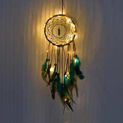 Ловец снов светодиодный Хранитель снов ручной работы перья ночник Ловцы снов настенные подвесные домашние украшения для комнаты # CO