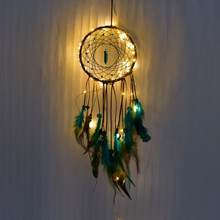 Dream catcher Led Handmade Dreamcatcher Feathers Night Light dream catchers Wall Hanging Home Room decoration #CO(China)