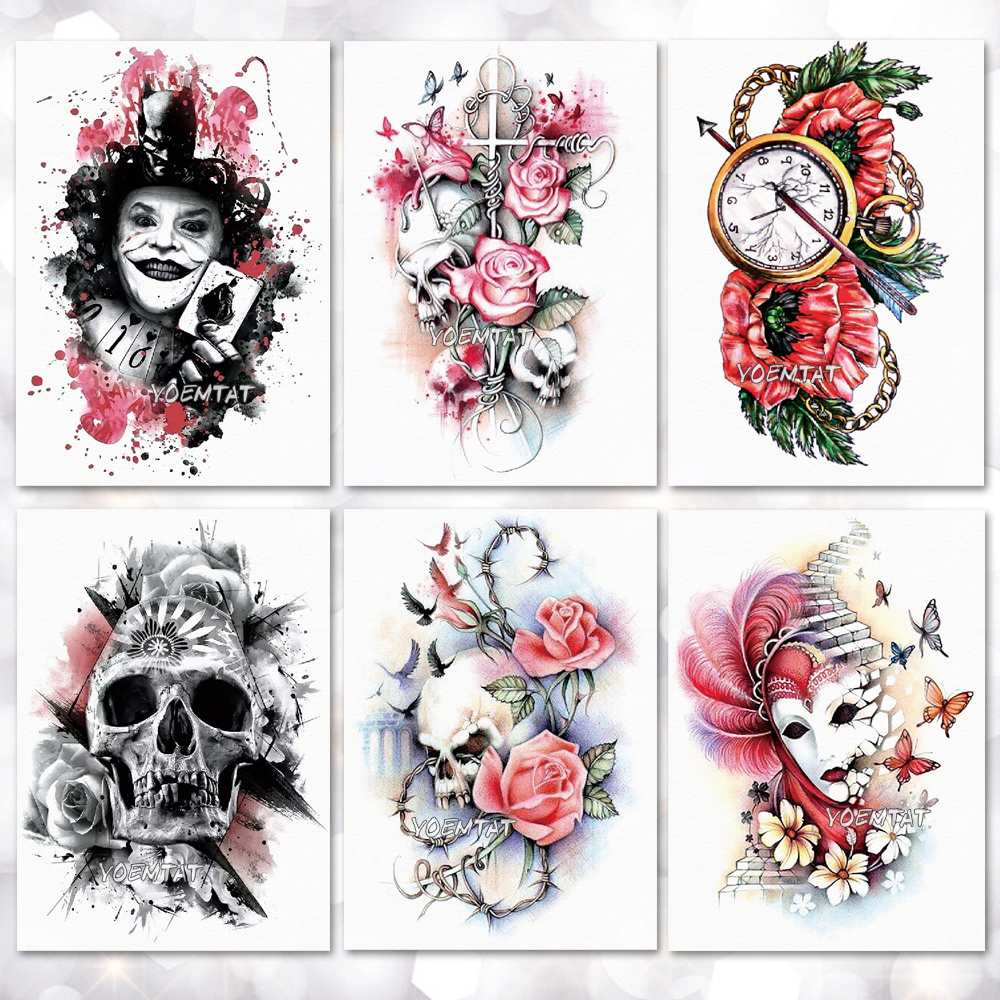 Waterproof Temporary Tattoo Sticker Flower Skull Joker Clown Pattern Tattoo Water Transfer Body Art Fake Tattoo For Women Men