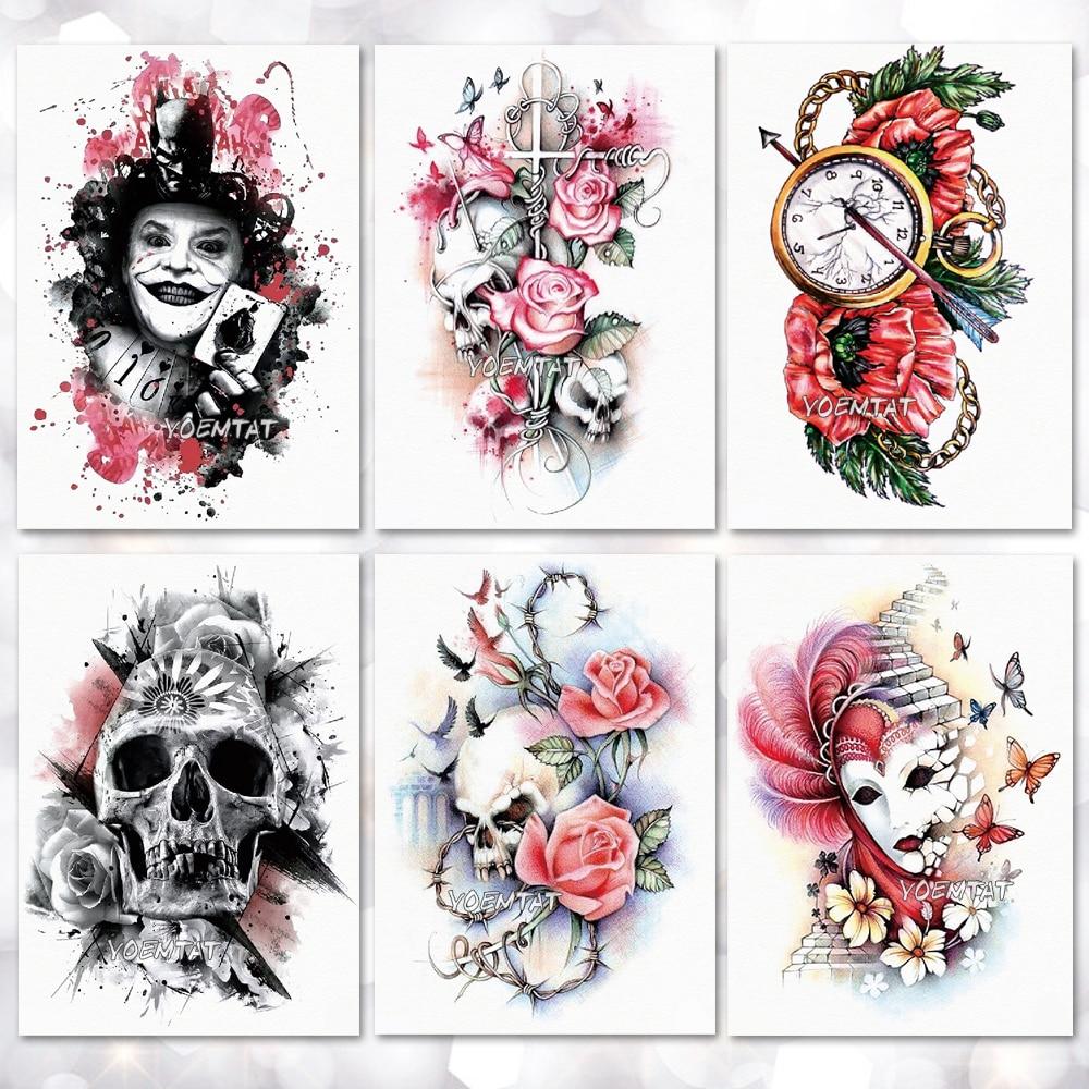 Waterproof Temporary Tattoo Sticker Flower Skull Joker Clown Pattern Tattoo Water Transfer Body Art Fake Tattoo For Women Men