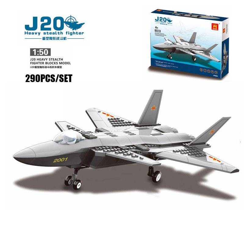 wange f 15 eagle fighter plane building blocks kit military army set models 290PCS/SET Classic J20 Heavy Stealth Military Fighter Aircraft Model Building Blocks Brick Educational Toy Compatible With Wange