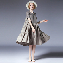 цена Women Plus size dresses casual loose Gauffer Elegant dress Large size ladies' crew neck high waist fashion short sleeve dresses