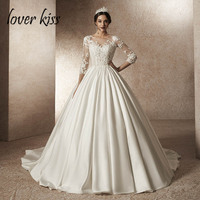 Lover Kiss Vestido De Noiva Princess Satin 3/4 Sleeves Wedding Dress Heavy Beaded Bride Dresses 2019 abiti sposa robe de mariage